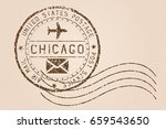 chicago mail stamp. old faded... | Shutterstock . vector #659543650