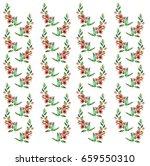 branch flower pattern watercolor | Shutterstock . vector #659550310