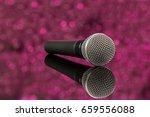 microphone in defocus pink...   Shutterstock . vector #659556088