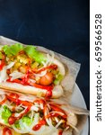 hotdogs close up. fast food.... | Shutterstock . vector #659566528