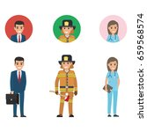 professions set full length and ...   Shutterstock .eps vector #659568574