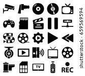 video icons set. set of 25... | Shutterstock .eps vector #659569594