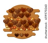 love you chocolate card with... | Shutterstock .eps vector #659570260