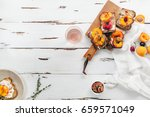 summer snack  sandwiches with... | Shutterstock . vector #659571049