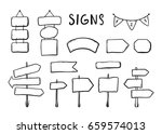 wooden signages  road signs ... | Shutterstock .eps vector #659574013