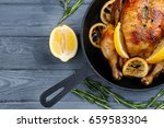 homemade baked chicken with... | Shutterstock . vector #659583304