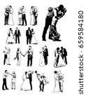 silhouette wedding bridegroom... | Shutterstock . vector #659584180