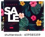 tropical vector sale design... | Shutterstock .eps vector #659585359
