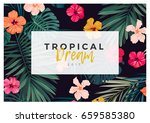 tropical vector design with... | Shutterstock .eps vector #659585380