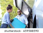 the passenger inserts the...   Shutterstock . vector #659588590