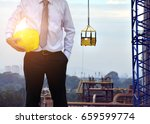 engineer or safety officer... | Shutterstock . vector #659599774