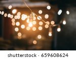 little beautiful lamp lights on ... | Shutterstock . vector #659608624