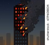 fire of the skyscraper on a... | Shutterstock .eps vector #659608834