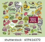 big hand drawn doodle barbecue... | Shutterstock .eps vector #659616370