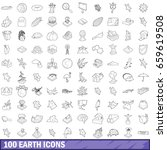 100 earth icons set in outline... | Shutterstock . vector #659619508