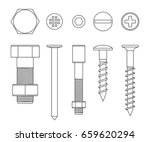 screws and bolts line drawing.... | Shutterstock .eps vector #659620294