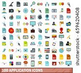 100 application icons set in... | Shutterstock . vector #659620408