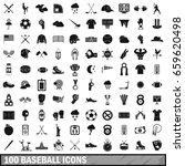 100 baseball icons set in... | Shutterstock . vector #659620498