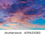 twilight sky and golden light... | Shutterstock . vector #659624383