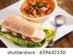 soup and sandwich | Shutterstock . vector #659632150