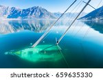 Sunken Sailboat In The Bay Of...
