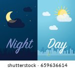 day and night mode cityscape... | Shutterstock .eps vector #659636614