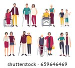 happy disabled people with... | Shutterstock . vector #659646469