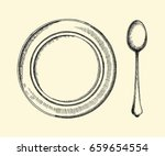soup plate and spoon. cutlery... | Shutterstock .eps vector #659654554