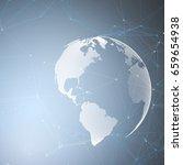 world globe on blue background... | Shutterstock .eps vector #659654938