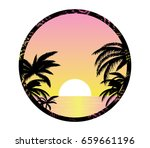 pink sunset shore vector... | Shutterstock .eps vector #659661196