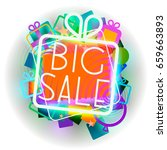 big sale colorful emblem | Shutterstock .eps vector #659663893