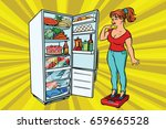 Diet. Young Woman On Scales ...