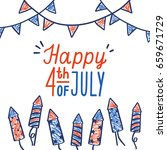 happy fourth of july card. hand ... | Shutterstock .eps vector #659671729