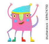 little kids monster in clothes... | Shutterstock .eps vector #659674750