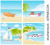 a set of four seascapes with