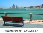 Red Bench Overlooking Abu Dhab...