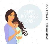 beautiful and cute cartoon... | Shutterstock .eps vector #659681770