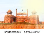 sun rays over the red fort  lal ... | Shutterstock . vector #659683840