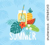 hand drawn summer greeting card ... | Shutterstock .eps vector #659684143