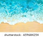 water wave and sea sand. ocean... | Shutterstock .eps vector #659684254