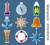 set of stickers simple nautical ... | Shutterstock .eps vector #659691838