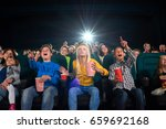 low angle shot of cinema hall... | Shutterstock . vector #659692168