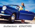beautiful happy woman sitting...   Shutterstock . vector #659697490
