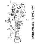 vector illustrated cute little...   Shutterstock .eps vector #65969794