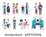 set of doctors and patients in... | Shutterstock . vector #659703946