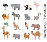 zoo animals set in flat style... | Shutterstock .eps vector #659705068