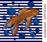 embroidery with golden fish on... | Shutterstock .eps vector #659710264