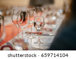 row of glasses with white wines ... | Shutterstock . vector #659714104