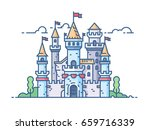 medieval stone castle with gate ...   Shutterstock .eps vector #659716339