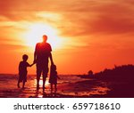 father and two kids walking on... | Shutterstock . vector #659718610